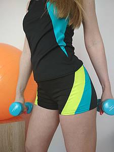 Женские короткие шорты черные с цветными вставками для спорта и фитнеса 40-48р