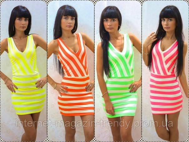 Короткое летнее платье  в неоновых расцветках 549