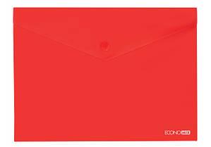"""Папка-конверт А5 прозрачная на кнопке Economix,180 мкм фактура """"глянец"""", красная E31316-03"""