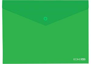 """Папка-конверт А5 прозрачная на кнопке Economix,180 мкм фактура """"глянец"""",зеленая E31316-04"""