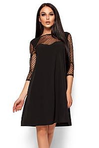 S, M, L / Вечернее изысканное платье-трапеция Rina, черный
