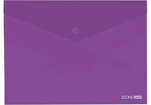 """Папка-конверт А5 прозрачная на кнопке Economix,180 мкм фактура """"глянец"""",фиолетовая E31316-12"""