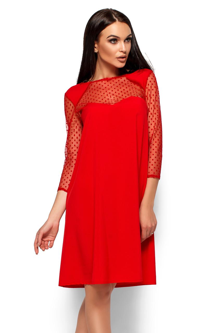 S, M, L / Вечернее изысканное платье-трапеция Rina, красный