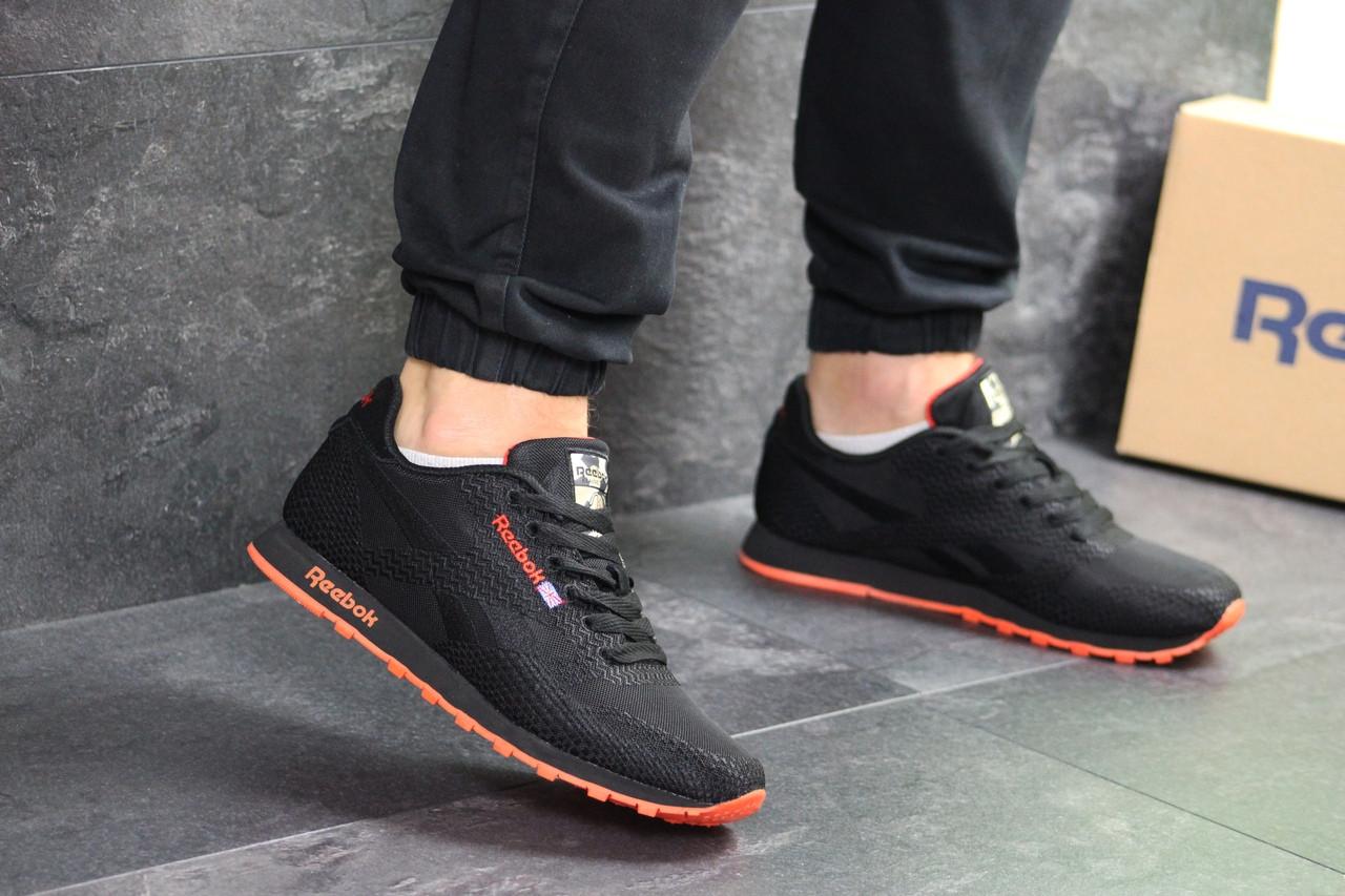 Мужские кроссовки Reebok (черно-оранжевые)