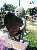 Дитячий памятник 3D елітний із граніту на могилу з квітником