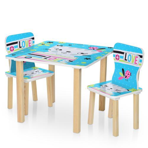 Столик детский со стульчиками 506-58-2 синяя кошка