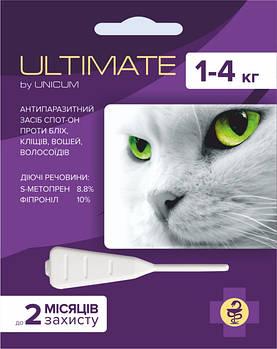 Капли Ultimate (Ультимейт) от блох, клещей, вшей и власоедов для котов весом 1-4 кг