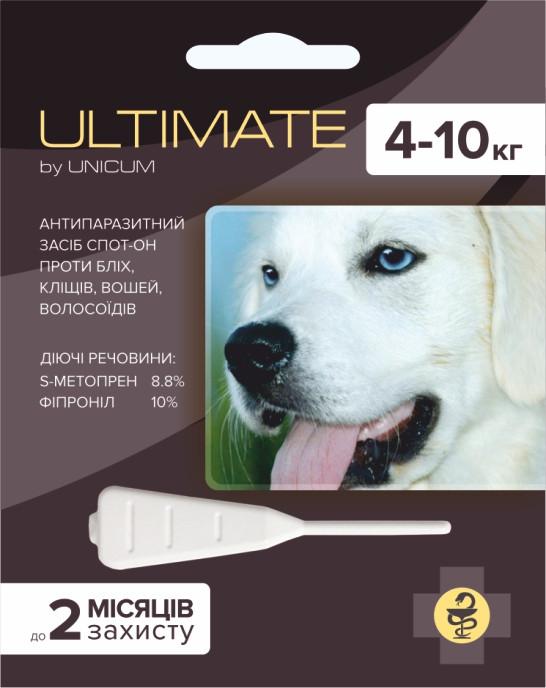 Ultimate (Ультимейт) капли от блох, клещей, вшей и власоедов для собак весом 4-10 кг