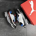 Чоловічі кросівки Puma (сіро-чорні з синім), фото 2