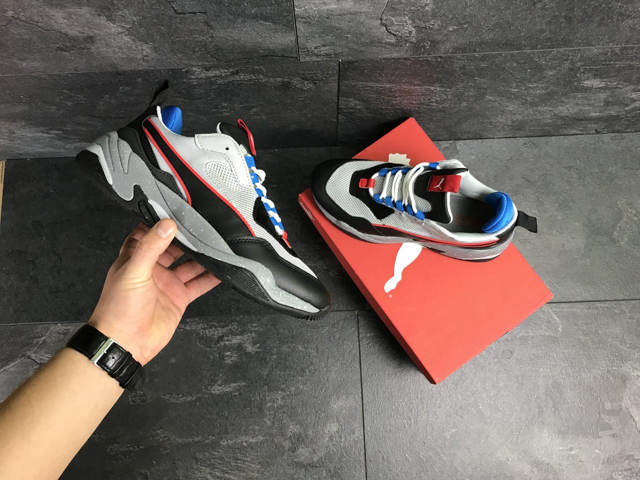 Мужские кроссовки Puma (серо-черные с синим)