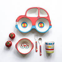 ✅ Детская бамбуковая посуда 5 в 1 Машинка