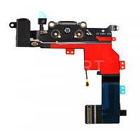 Порт зарядки и синхронизации со шлейфом iPhone 5S черный, Порт зарядки і синхронізації зі шлейфом iPhone 5S чорний