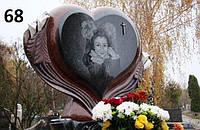 Дитячий комплекс памятник елітний велике серце із граніту чорного та червоного кольору на кладовище
