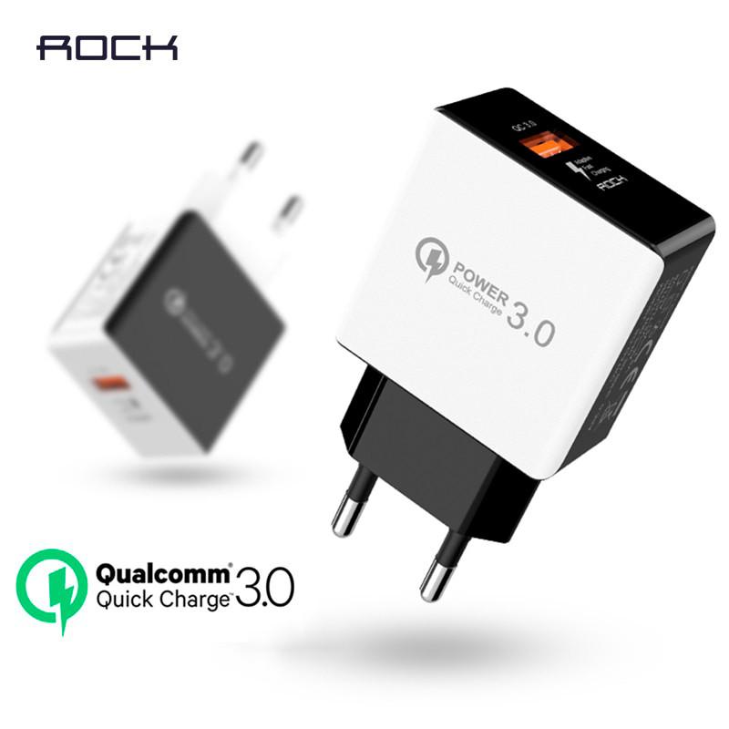 Универсальное сетевое зарядное устройство Rock QC3.0 Qualcomm Quick Charge 18W SD-Q31KC (Белое)