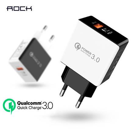 Универсальное сетевое зарядное устройство Rock QC3.0 Qualcomm Quick Charge 18W SD-Q31KC (Белое), фото 2
