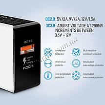Универсальное сетевое зарядное устройство Rock QC3.0 Qualcomm Quick Charge 18W SD-Q31KC (Белое), фото 3