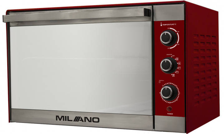 Духовка электрическая  MILANO MO-48 Red (48 литров,конвекция, гриль, вертел, подсветка), фото 2