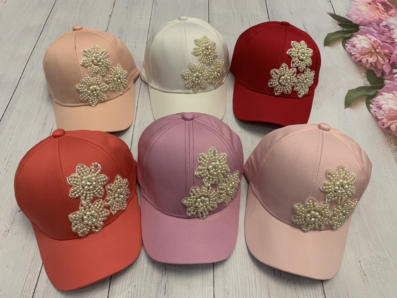 Летняя кепка для девочки Цветок в камнях р.54-55