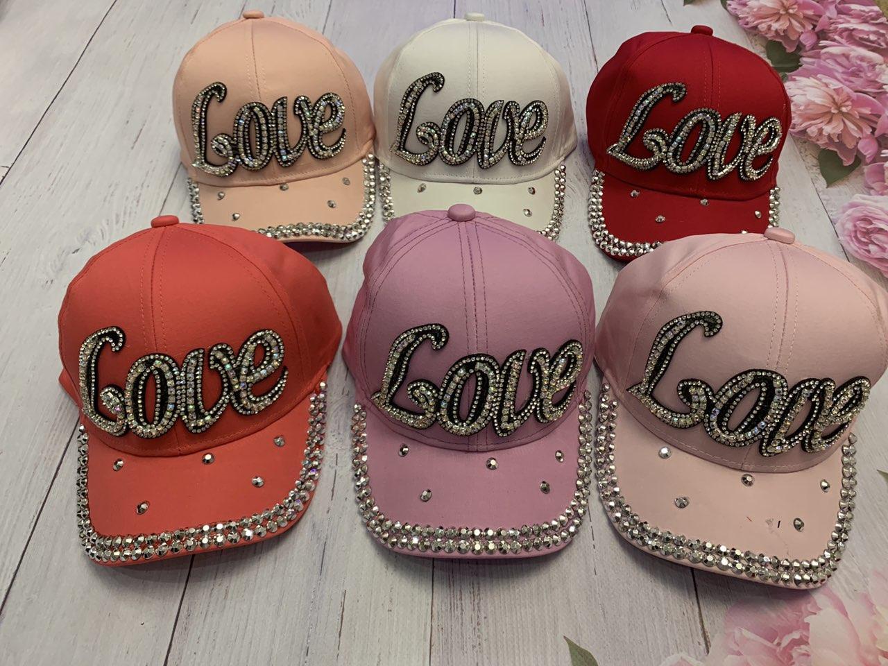 Летняя кепка для девочки Love в камнях р.54-55