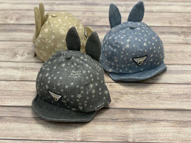 Летняя кепка для мальчика с ушками и мягким козыркем  р.48-50, фото 2