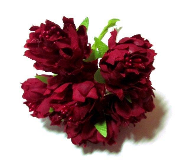 Хризантема искусственная 3,5 см/ 6 шт, бордовые