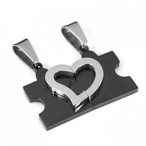 """Парные кулоны для влюбленных """"Пазл - половинки сердца"""". Цвет черный, фото 2"""