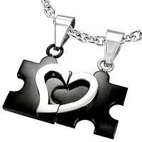 """Парные кулоны для влюбленных """"Пазл - половинки сердца"""". Цвет черный"""