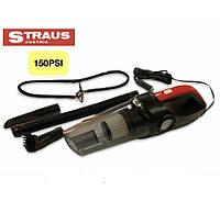 Многофункциональный компактный автомобильный пылесос компрессор фонарь STRAUS 3в1 12v