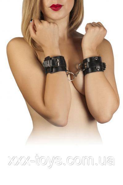 Наручники Leather Dominant Hand Cuffs, black, фото 1