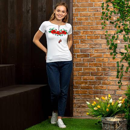 Женская футболка вышиванка Маки белая, фото 2