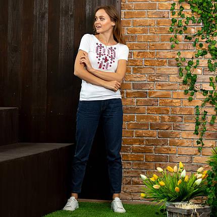 Белая женская футболка вышиванка Орнамент красный, фото 2