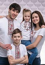 Парні футболки вишиванки для всієї сімї Орнамент червоний, фото 3