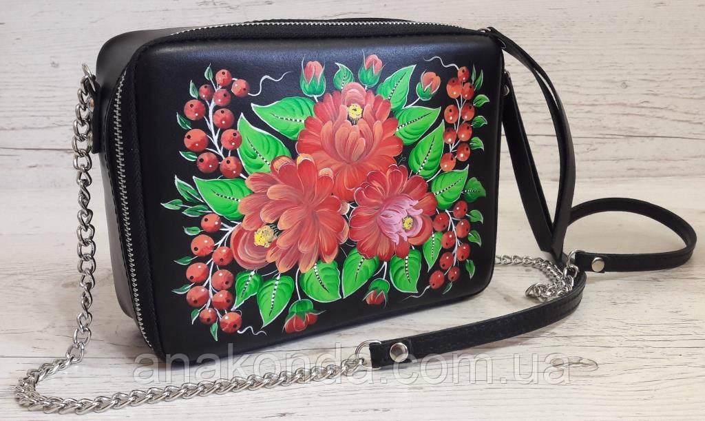 61-р Натуральная кожа, Сумка кросс-боди, черная сумка с ручной росписью, кожаная сумка с росписью вручную