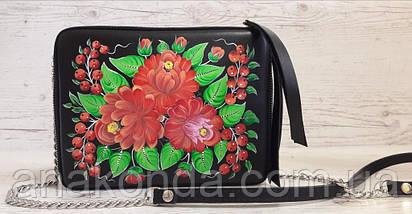 61-р Натуральная кожа, Сумка кросс-боди, черная сумка с ручной росписью, кожаная сумка с росписью вручную, фото 2