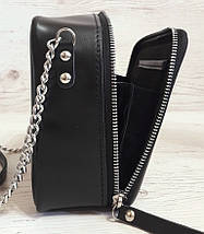 61-р Натуральная кожа, Сумка кросс-боди, черная сумка с ручной росписью, кожаная сумка с росписью вручную, фото 3