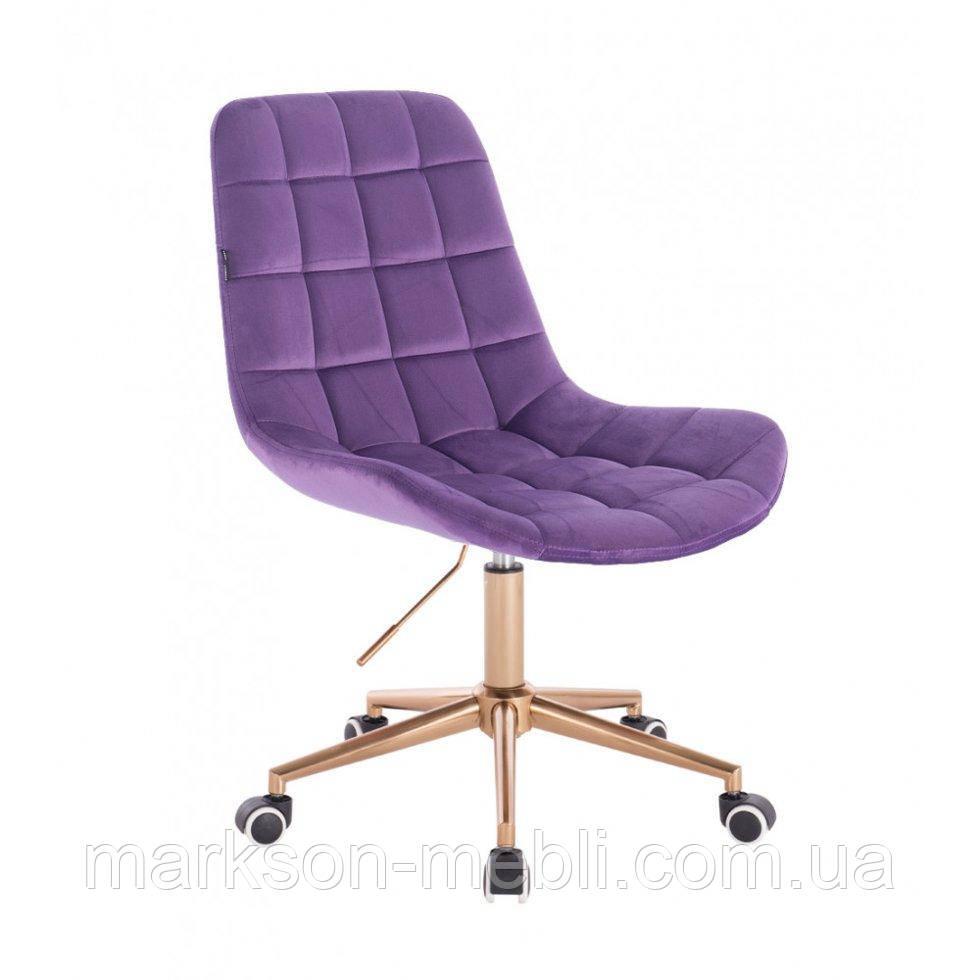 Косметическое кресло HR590K  фиолетовый велюр колеса золото