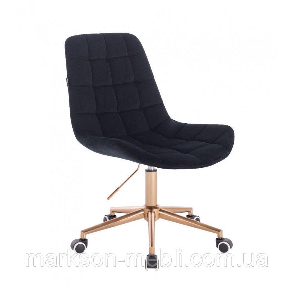 Косметическое кресло HR590K  черный  велюр колеса золото
