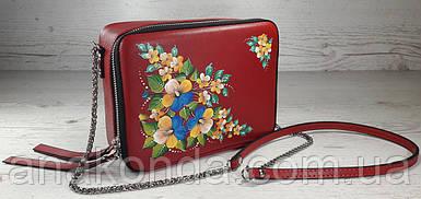 65-р Натуральная кожа, Сумка кросс-боди, красная сумка с ручной росписью, кожаная сумка с росписью вручную