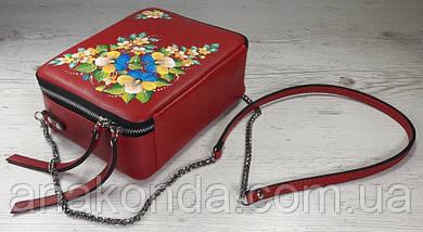 65-р Натуральная кожа, Сумка кросс-боди, красная сумка с ручной росписью, кожаная сумка с росписью вручную, фото 3