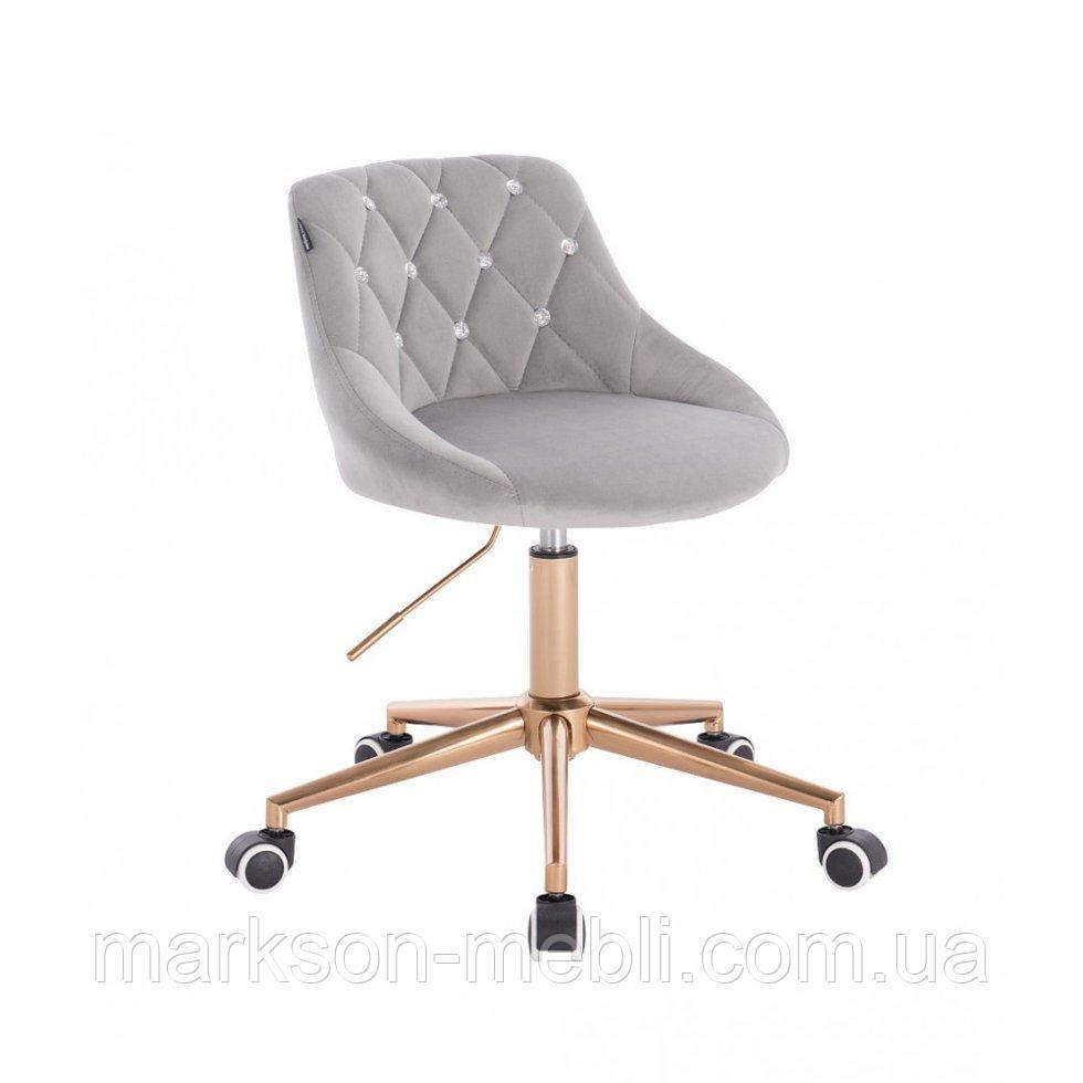 Косметическое кресло HROOVE FORM HR1054CK стальной велюр крестовина золото