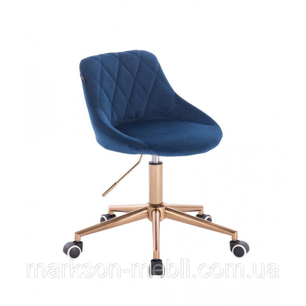 Косметическое кресло HROOVE FORM HR1054K синий велюр крестовина золото