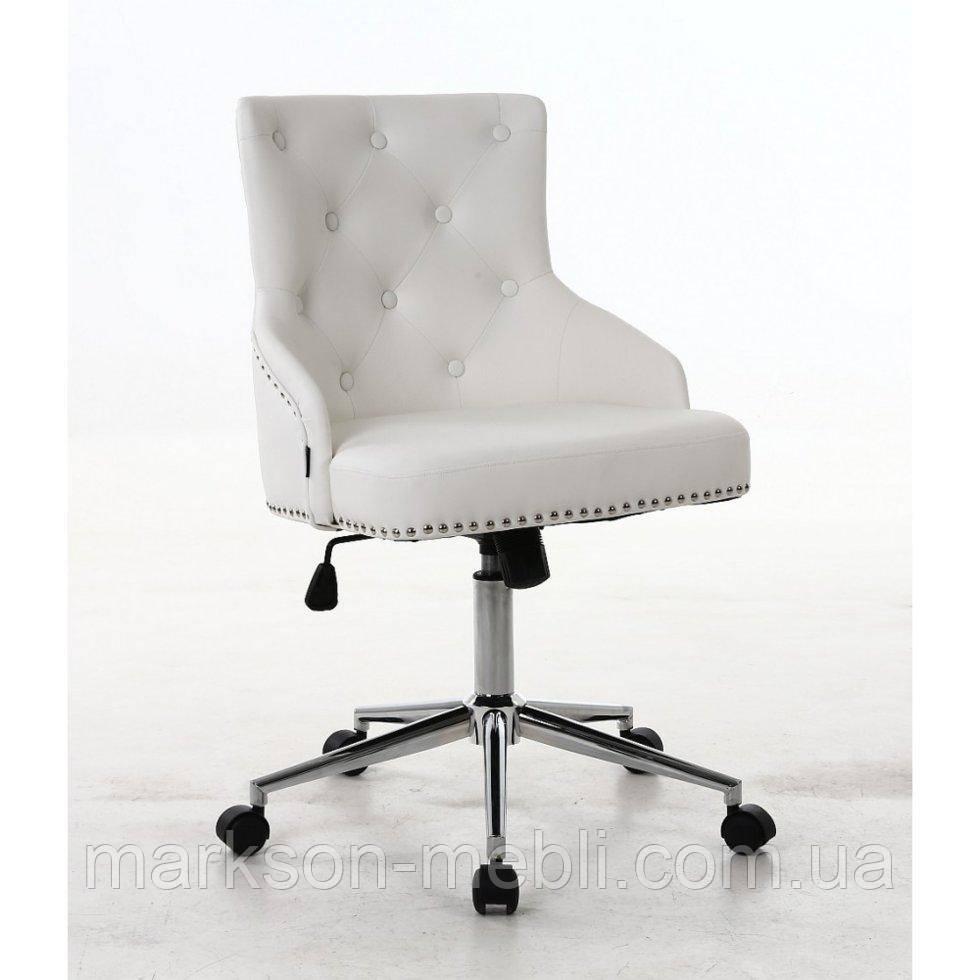 Косметическое кресло HROOVE FORM HR654K белый кожзам с пуговицами