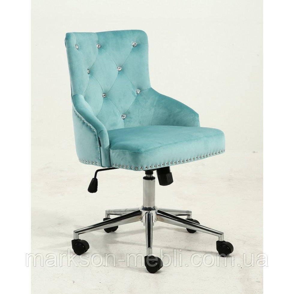 Косметическое кресло HROOVE FORM HR654K бирюза велюр со стразами