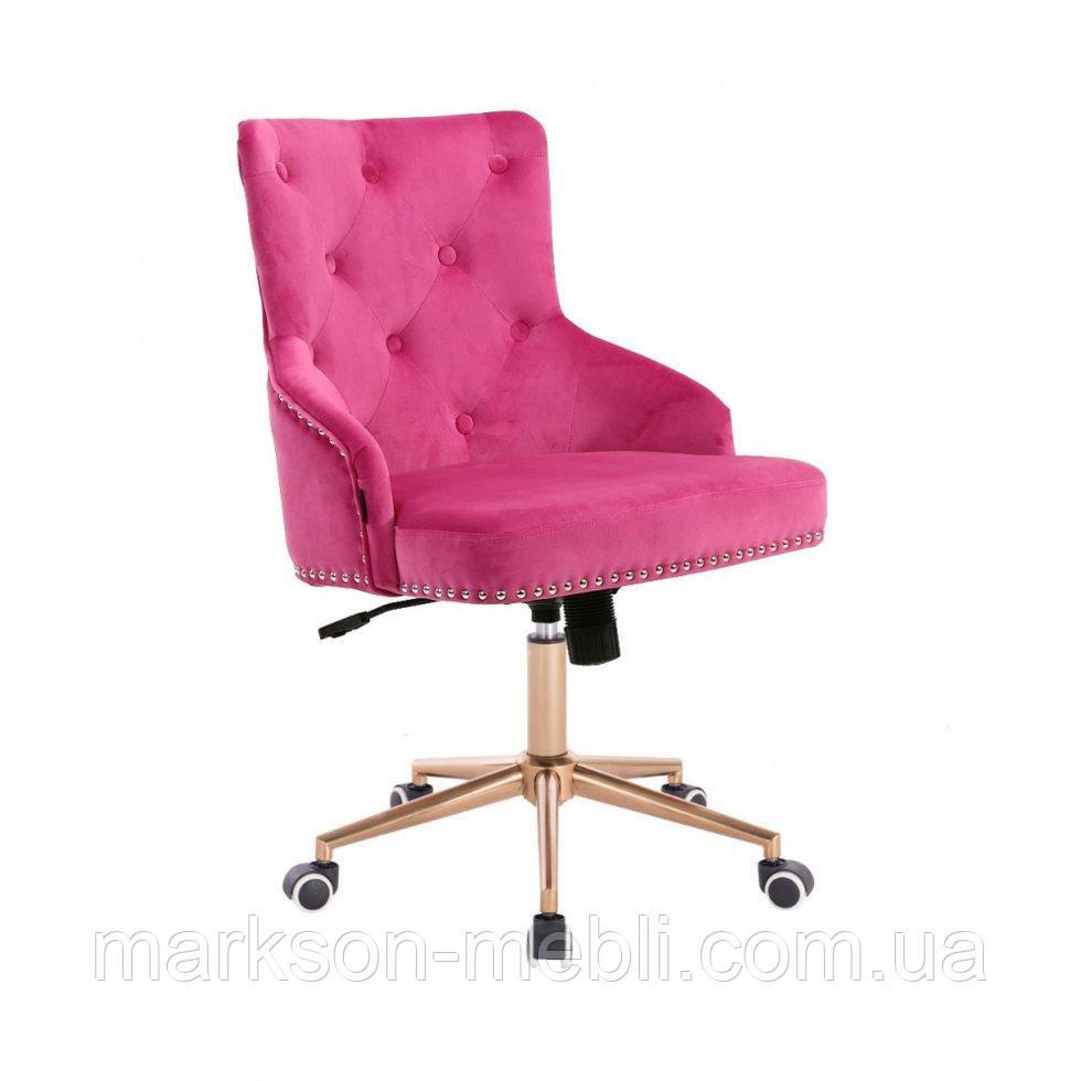 Косметическое кресло HROOVE FORM HR654K малиновый велюр с пуговицами колеса золото
