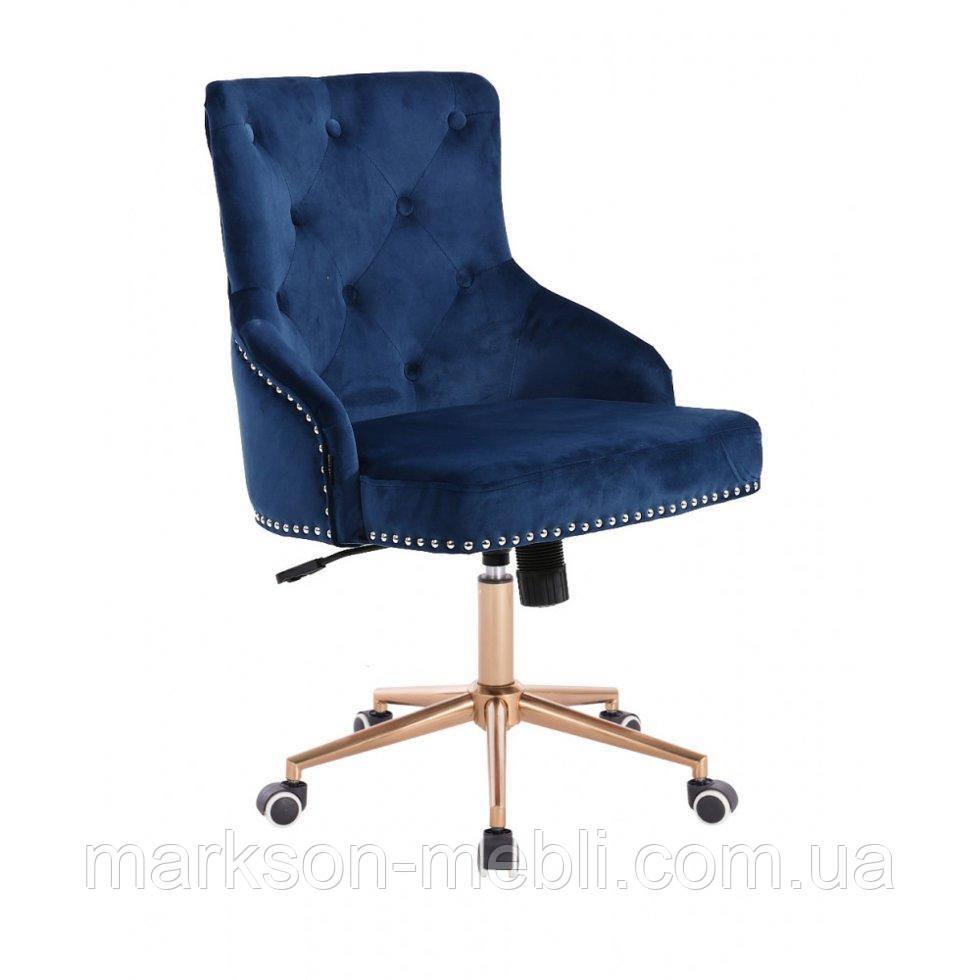 Косметическое кресло HROOVE FORM HR654K синий велюр с пуговицами колеса золото