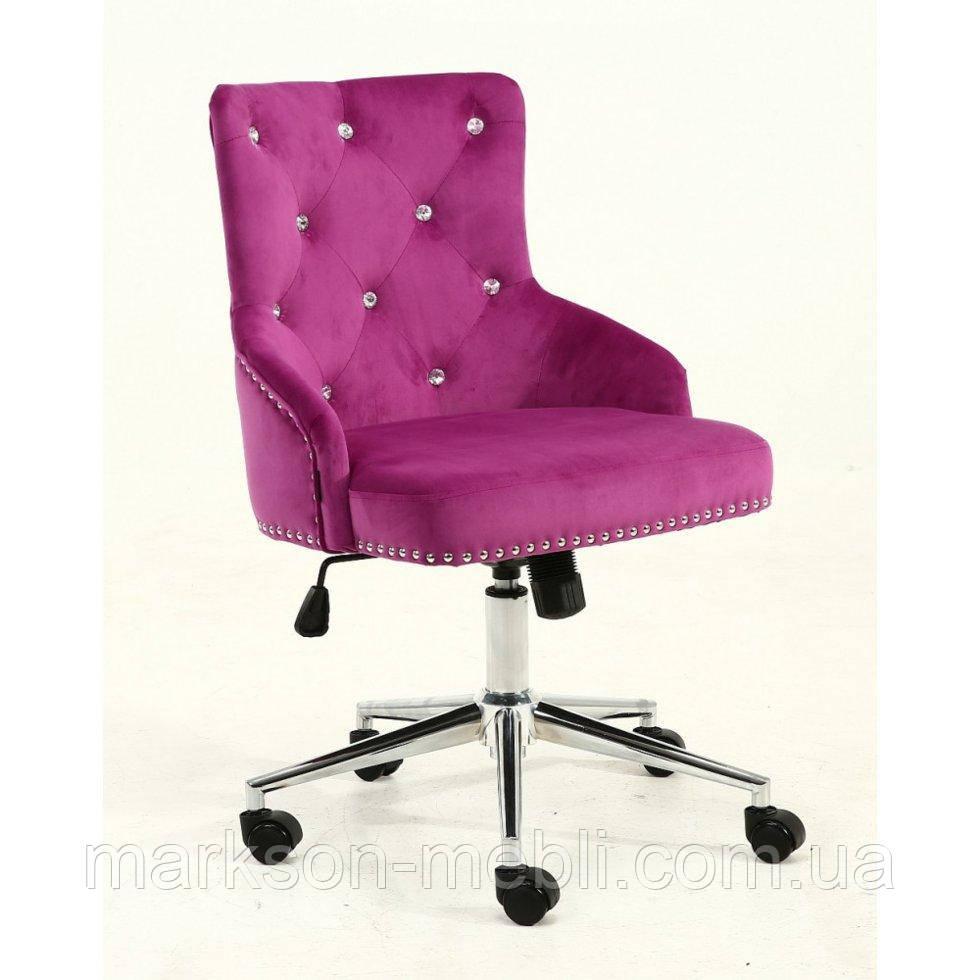 Косметическое кресло HROOVE FORM HR654K фуксия велюр со стразами