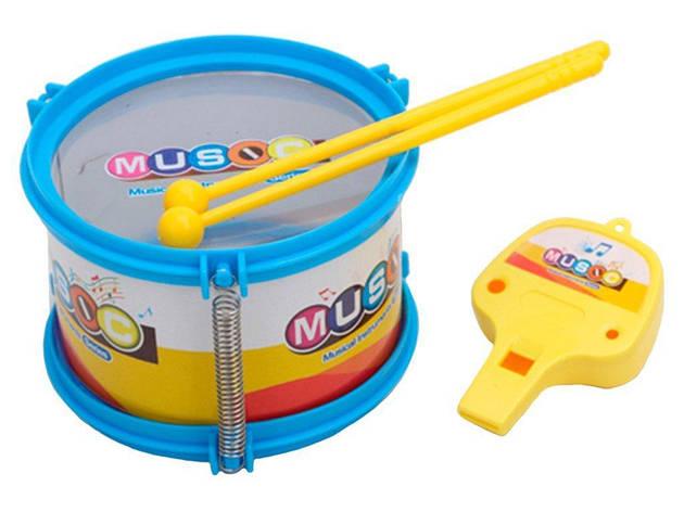 Барабан детский 12 см 2 палочки свисток, фото 2