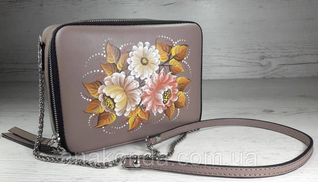65-р Натуральная кожа, Сумка кросс-боди, бежевая сумка с ручной росписью, кожаная сумка с росписью вручную