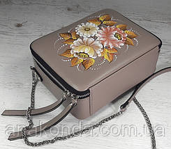 65-р Натуральная кожа, Сумка кросс-боди, бежевая сумка с ручной росписью, кожаная сумка с росписью вручную , фото 3