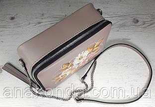 65-р Натуральная кожа, Сумка кросс-боди, бежевая сумка с ручной росписью, кожаная сумка с росписью вручную , фото 2